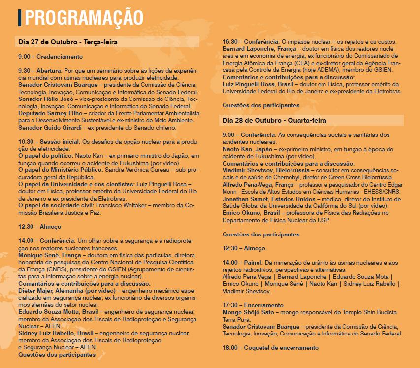 """Seminário Internacional """"Usinas Nucleares – Lições da Experiência Mundial"""""""