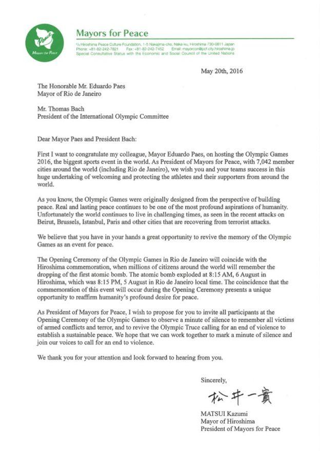 Carta enviada pelo prefeito de Hiroshima ao COI e a Eduardo Paes