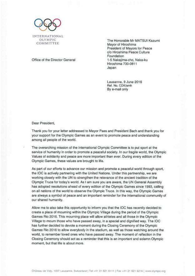 Carta enviada pelo COI e em nome de Eduardo Paes ao prefeito de Hiroshima